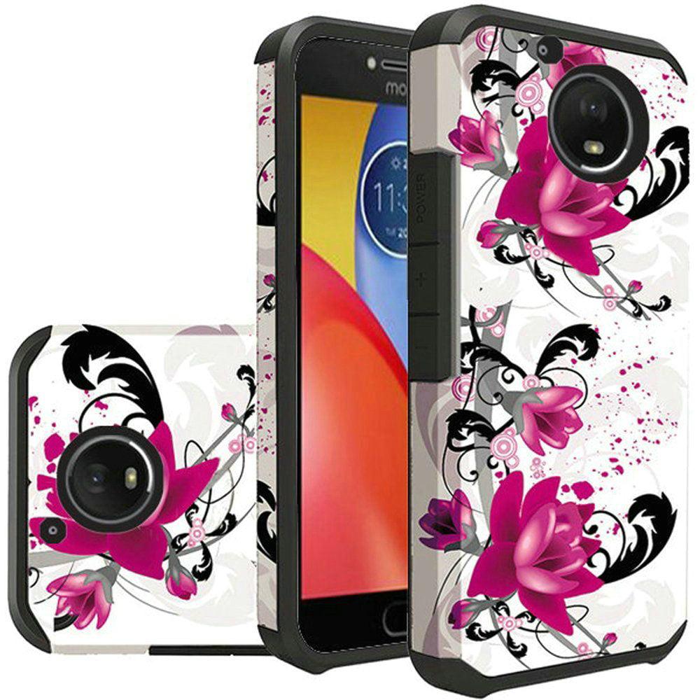 For Motorola Moto E4 Plus 4G 2017 Rubberized Design CaseHybrid - Purple Lily