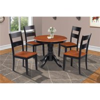M&D Furniture BRSU3-BLC-W Brookline 3 piece small kitchen table and chairs set in Black & Cherry finish
