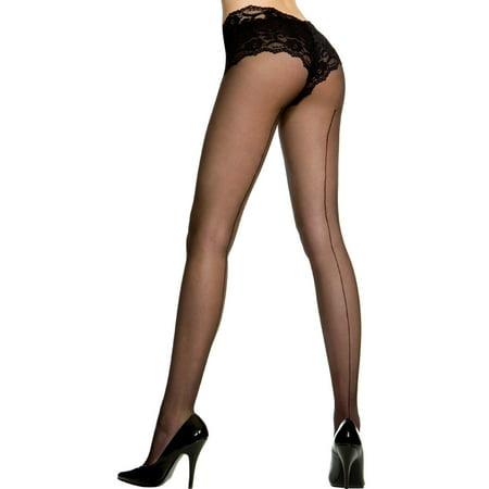 f707e2a78 Music Legs - Music Legs Women s Plus Size Sheer Backseam Pantyhose Black  Queen - Walmart.com