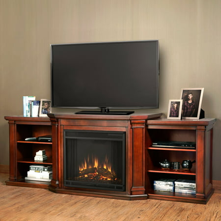 Real FlameValmont Electric TV Media Fireplace Dark Mahogany