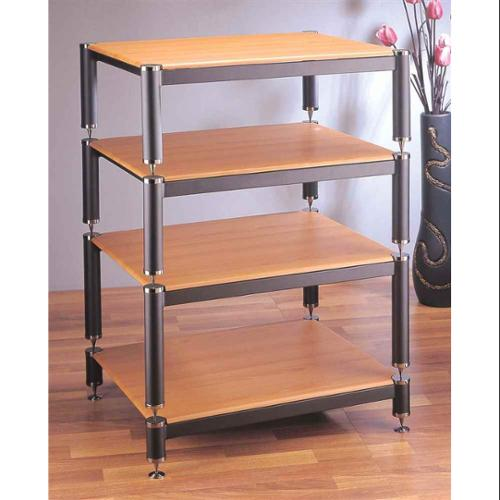 BL Series Stackable Audio Video Rack (Black w Oak Shelf)