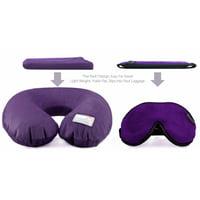 Dream Essentials Travel Flat Pack Neck Pillow Plus Escape Sleep Mask Bundle -Purple