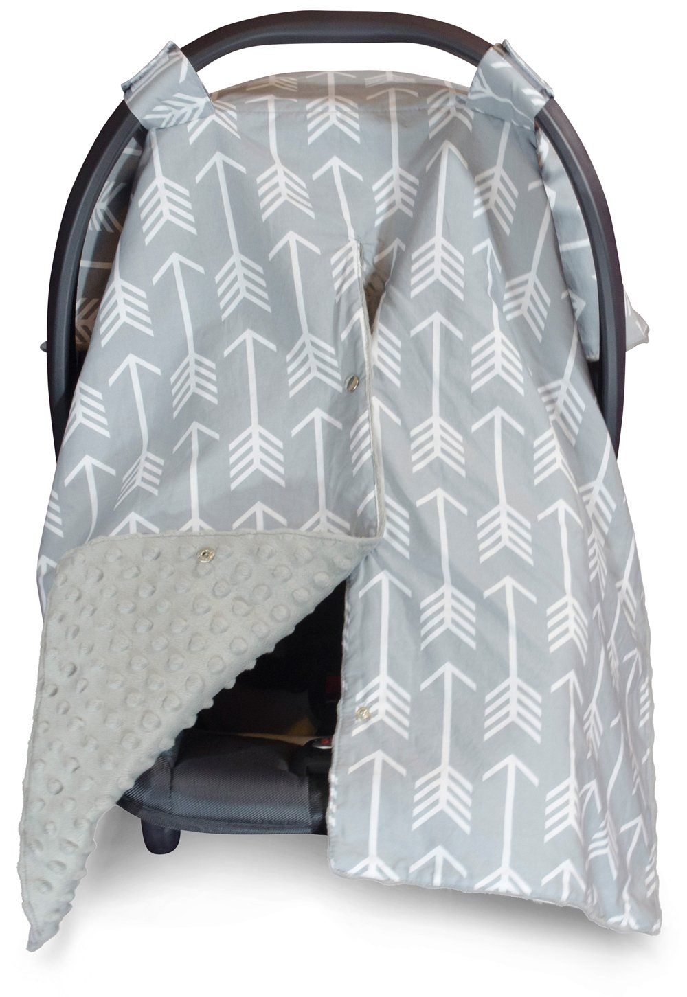 Kids N' Such 2 in 1 Car Seat Canopy Cover with Peekaboo Opening Large Arrow Carseat Cover with Grey Dot Minky... by Kids N%27 Such