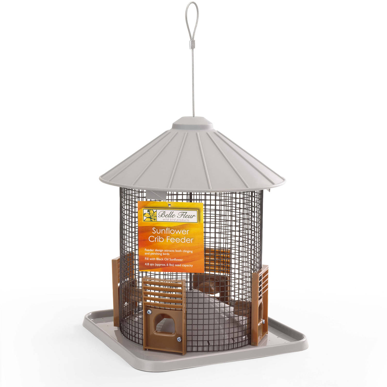 "Belle Fleur Sunflower Crib Bird Feeder with 4 Feeding Ports, 9"" Diameter, 6 lb Capacity"