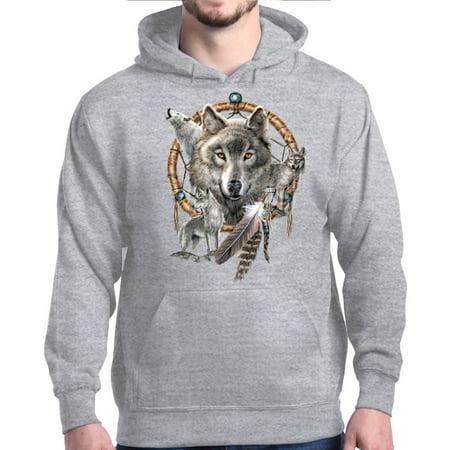 Shop4Ever Men's Wolf Pack Hooded Sweatshirt Hoodie (Wolf Hood)