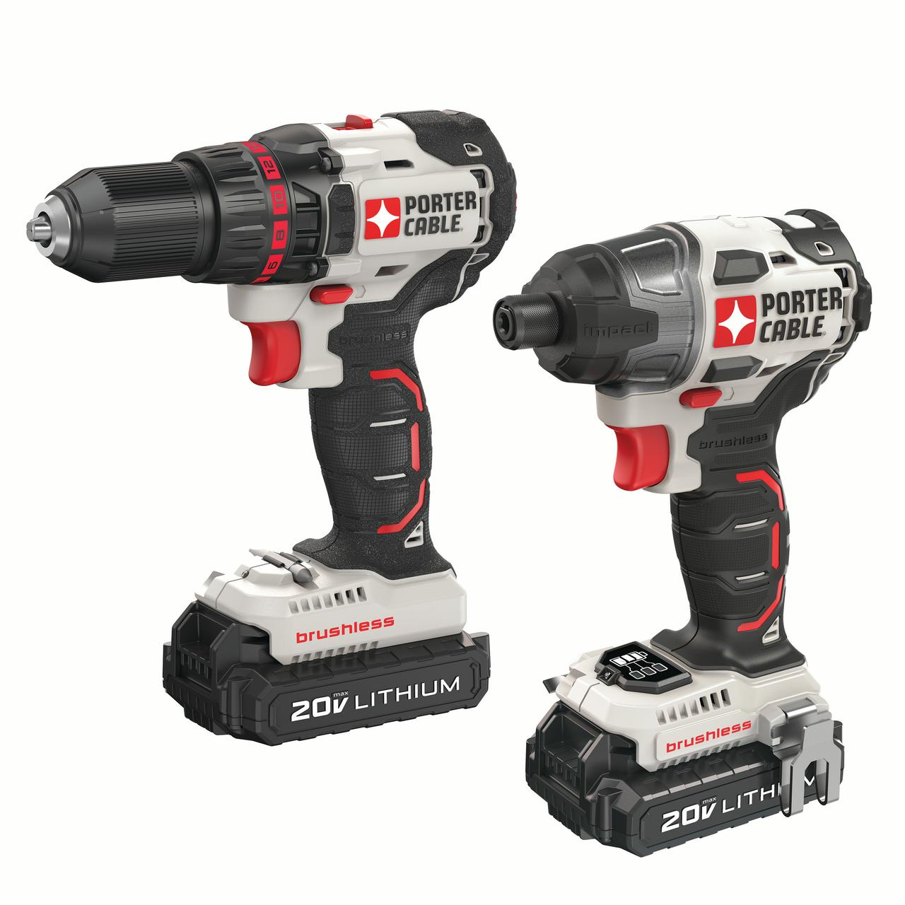 PORTER CABLE 20-Volt Max Lithium-Ion Brushless Cordless Drill And Impact Driver Combo Kit, PCCK618L2