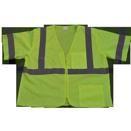LVM3-Z-L-XL Safety Vest Ansi-Isea Class 3 Lime Mesh Zipper Closure 2 Pockets, Large & Extra Large - image 1 de 1