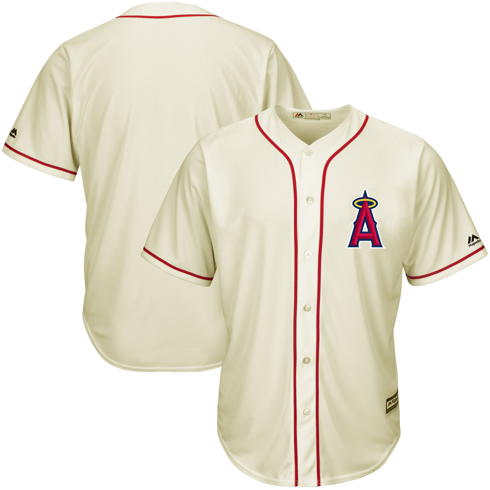 Los Angeles Angels Majestic Cool Base Ivory Fashion Team Jersey - Cream/Red