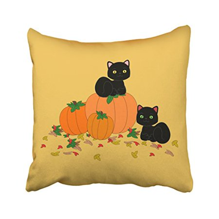 WinHome Cute Girly Vintage Halloween Autumn Pumpkin Black Cat Art Polyester 18 x 18 Inch Square Throw Pillow Covers With Hidden Zipper Home Sofa Cushion Decorative - Halloween Black Cat Vintage