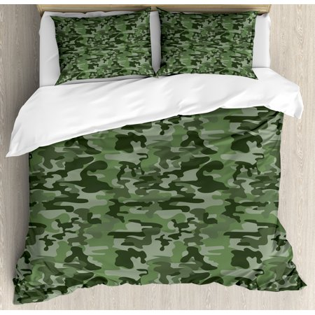 Forest Green King Size Duvet Cover Set, Abstract Airforce Military Pattern in Green Shades Camouflage Soldier Uniform, Decorative 3 Piece Bedding Set with 2 Pillow Shams, Multicolor, by (Three Piece Uniform)