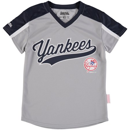48784ebce New York Yankees Stitches Girls Youth V-Neck Jersey T-Shirt - Gray Navy -  Walmart.com