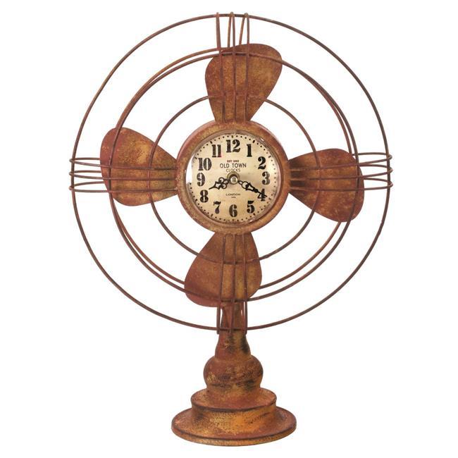 Regency International MT21896-RUST 18 in. Metal Table Fan Clock - Rust - image 1 of 1