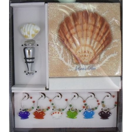 Scallop Shell Wine Glass Charms and Topper Cocktail Napkins Boxed Gift - Glass Scallop