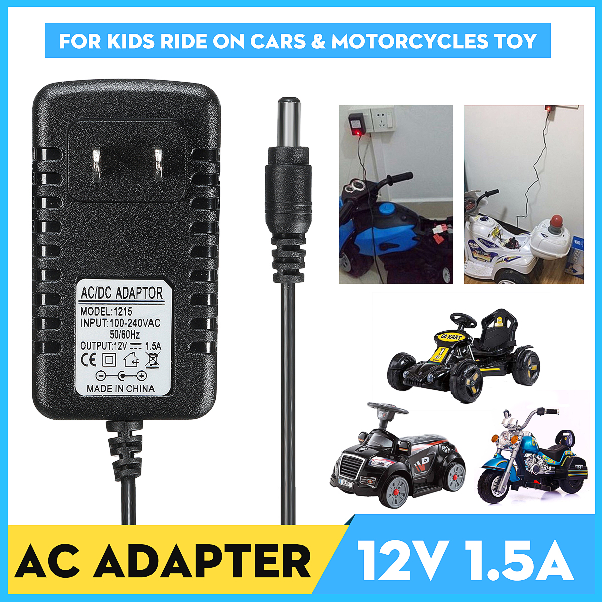 500mA//1A 6//12V Adapter Battery Charger For Kids ATV Quad Motorcycle Ride On Car