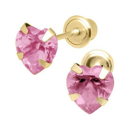 Jewelry 14K Yellow Gold 4mm Cubic Zirconia Heart October Birthstone Stud Screwback Earrings - image 1 of 1