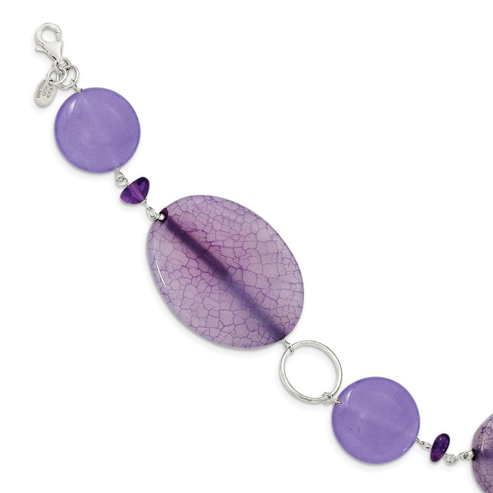 Sterling Silver 7.5in Purple Stone/Jade/Amethyst Bracelet