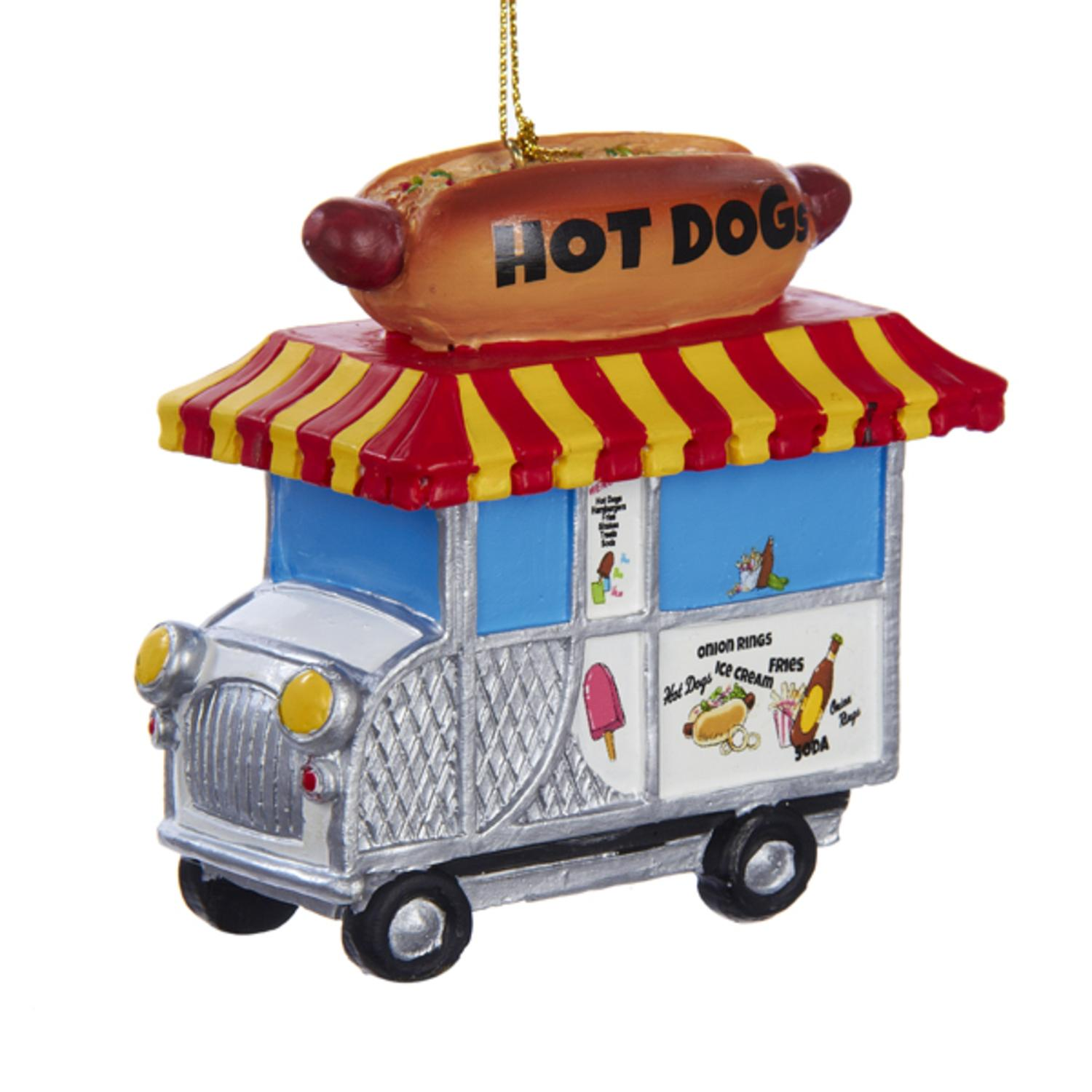 Pack of 3 Hot Dog Truck Christmas Ornments