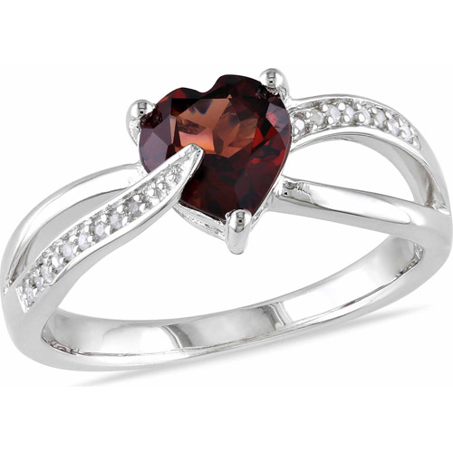 1-1/4 Carat T.G.W. Garnet and Diamond-Accent Sterling Silver Cross-Over Heart Ring