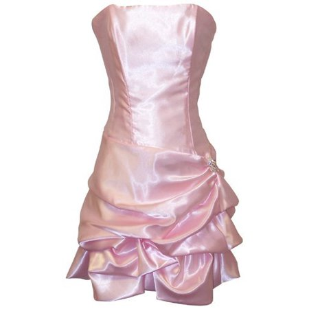 Strapless Satin Bubble Party Dress Prom Formal](Gold Dress Halloween Ideas)