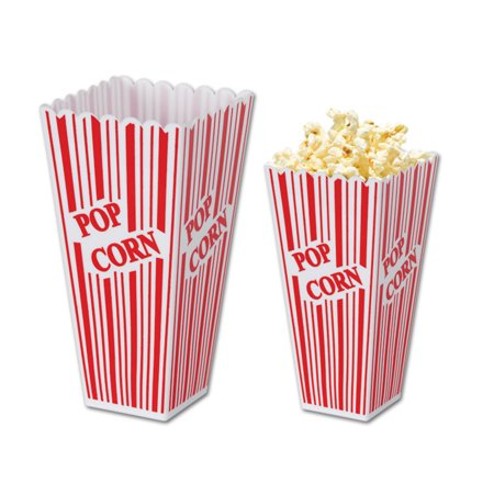 Pack of 6 Circus Theme Movie Night Party Plastic Popcorn Treat Boxes 7.75