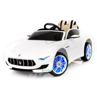 12V Maserati Alfieri Ride on Electric Car For Kids with MP4 Touch Screen Remote Control LED lights wheels MP3 Leather seat - White