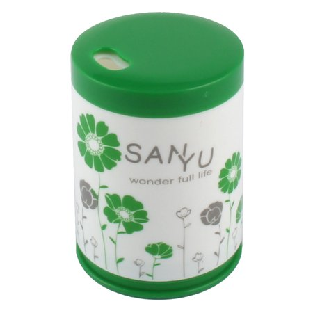 Uxcell Home Plastic Cylinder Shaped Flower Pattern Toothpicks Case Holder Green White