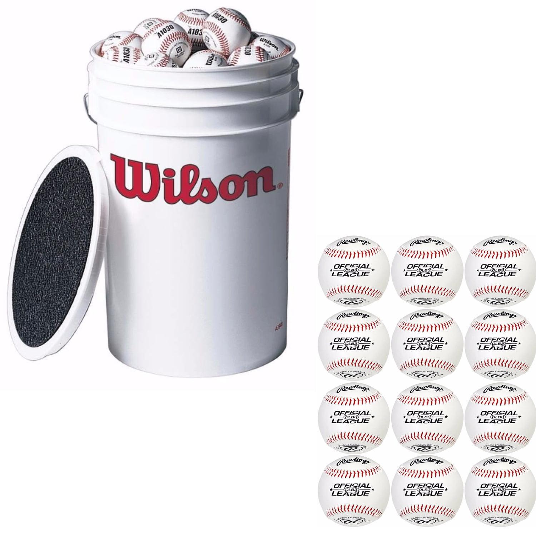 Wilson A1030 3-Dozen Bucket of Baseballs +EXTRA 12 RAWLIN...