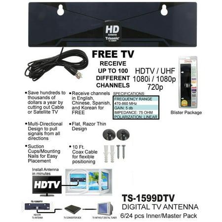 Digital Indoor TV Antenna HDTV DTV Box Ready HD VHF UHF Flat Design High Gains
