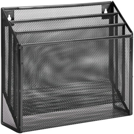 Honey Can Do Steel Mesh Vertical File Sorter, Black