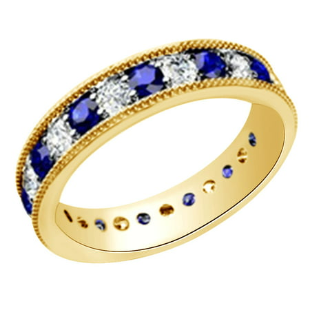 (1.3 cttw) Simulated Blue Sapphire & White Natural Diamond Eternity Wedding Band Ring In 14k Yellow Gold With Ring Size -4