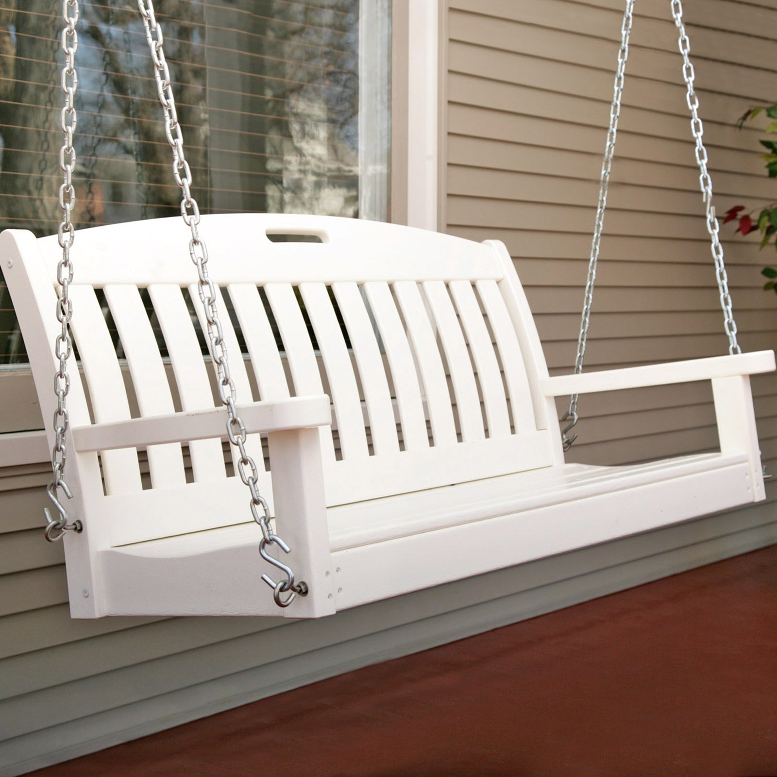 POLYWOODu0026reg; Nautical 4 Ft. Recycled Plastic Porch Swing   White    Walmart.com