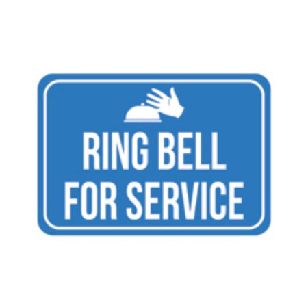 Ring Bell For Service Print Blue White Poster Hand Picture Symbol Business Office Store Cashier Customer Notice Sign ()