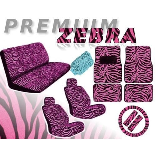 Unique Imports 16pcs PINK ZEBRA Interior Seat Cover set Front Low Back Seat Covers