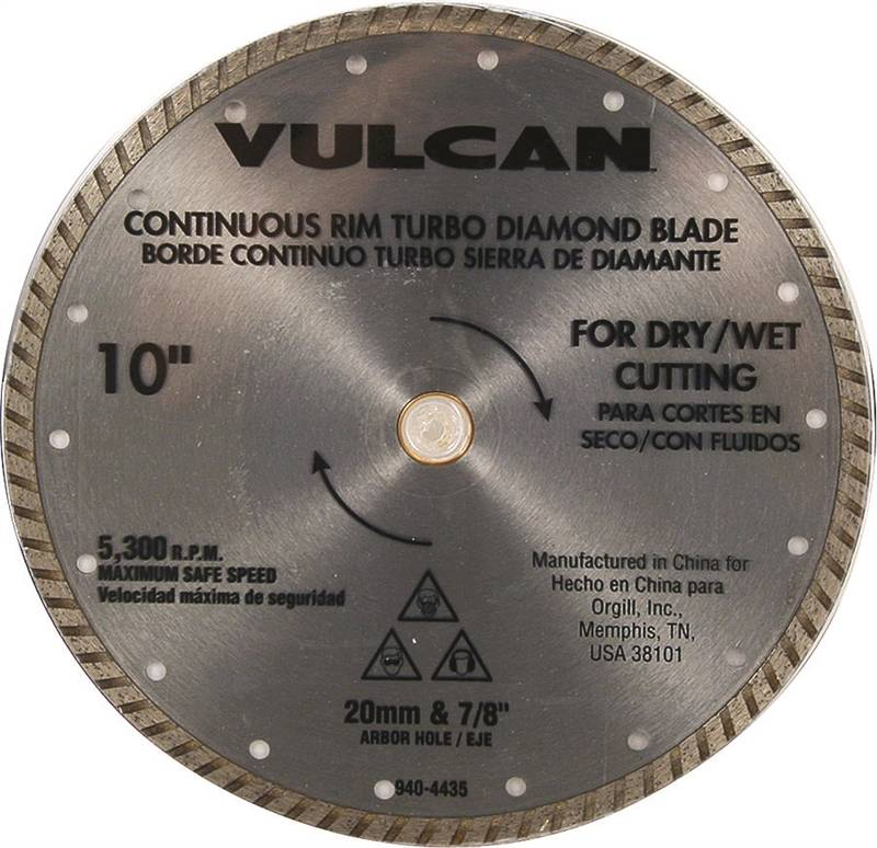 Vulcan 934161OR Turbo Continuous Rim Circular Saw Blade, 10 in Dia x 0.08 in T, 5/8 in Arbor