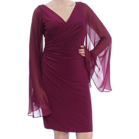 RALPH LAUREN Womens Purple Sheer V Neck Faux Wrap Cocktail Dress  Size: 10