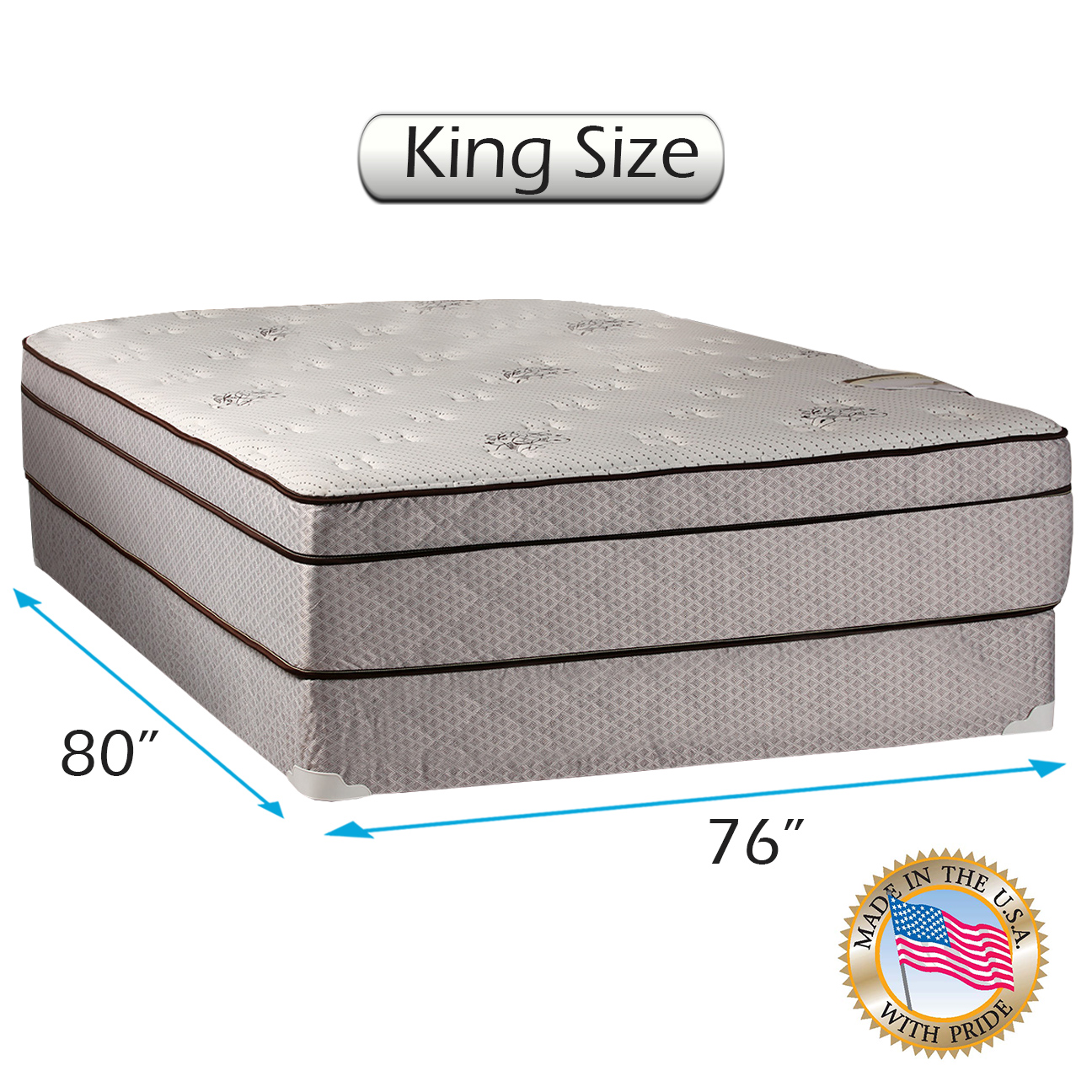 Dream Solutions USA Fifth Ave Extra Soft Foam Eurotop (PillowTop) Mattress & Box