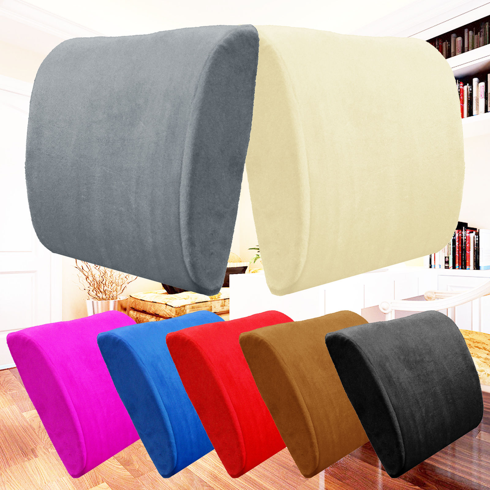 Memory Foam Lumbar Back Support Pillow Sciatica & Pain Relief Seat Chair Cushion Black and More Colors