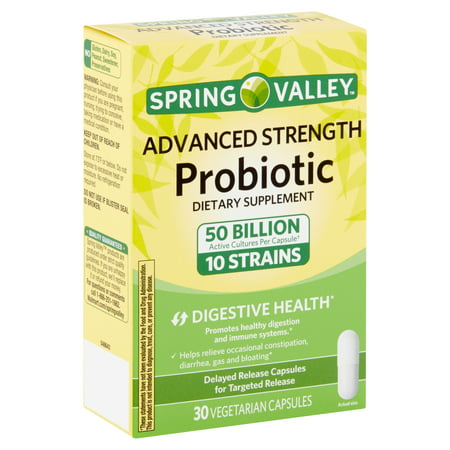 Spring Valley Advanced Strength Probiotic Dietary Supplement 30 Vegetarian Capsules 50 Billion Active Cultures 10 Strains