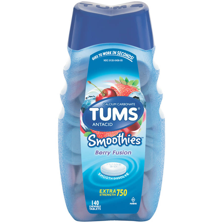 TUMS Smoothies Antacid Extra Strength 750 Berry Fusion Chewable Tablets, 140 count