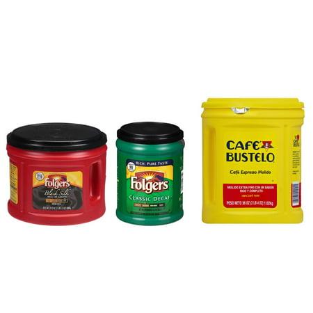 Folgers Coffee Bar Combo 1-24.2oz Black Silk Coffee & 1-11.3oz Classic Decaf & 1-36oz Cafe Bustelo Coffee Espresso