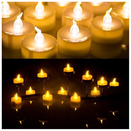 60 PCS Flameless Smokeless LED Tealight Candles Battery Operated for Wedding/Party Warm White