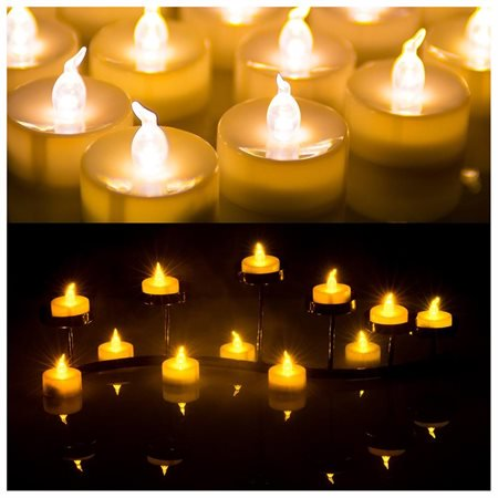 60 PCS Flameless Smokeless LED Tealight Candles Battery Operated for Wedding / Party Warm White