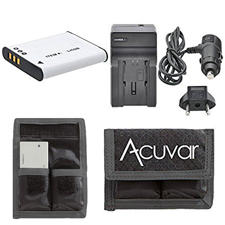 LI-50B Rechargeable Battery + Car / Home Charger + Acuvar Battery Pouch For Olympus