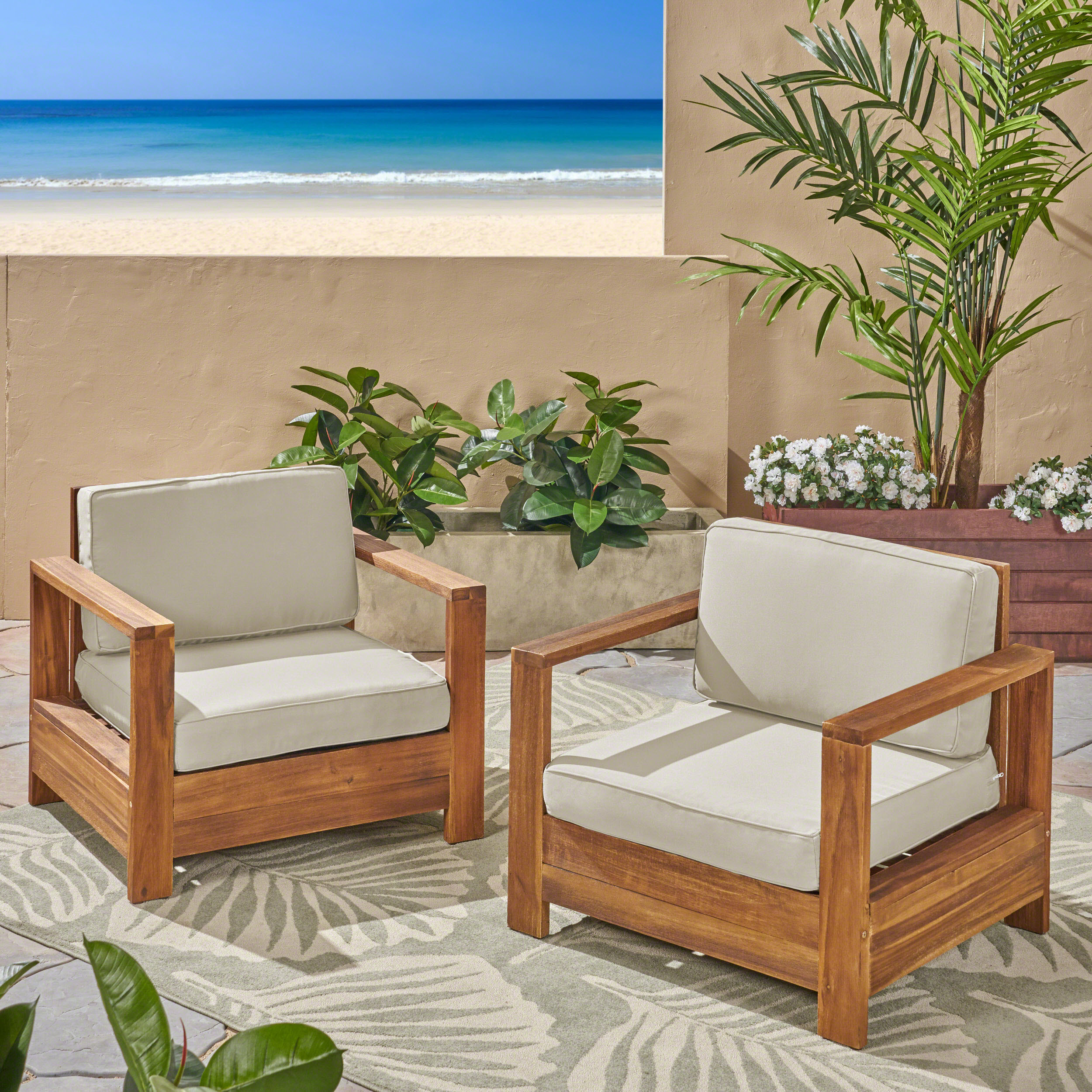 Avalynn Outdoor Acacia Wood Club Chairs with Cushions, Set of 2, Brushed Brown Patina, Light Beige