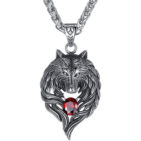 Men's Stainless Steel Large Tribal Wolf and Crystal Biker Pendant Necklace