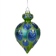 """5.25"""" Regal Peacock Blue and Green Glittered Glass Teardrop Finial Christmas Ornament"""