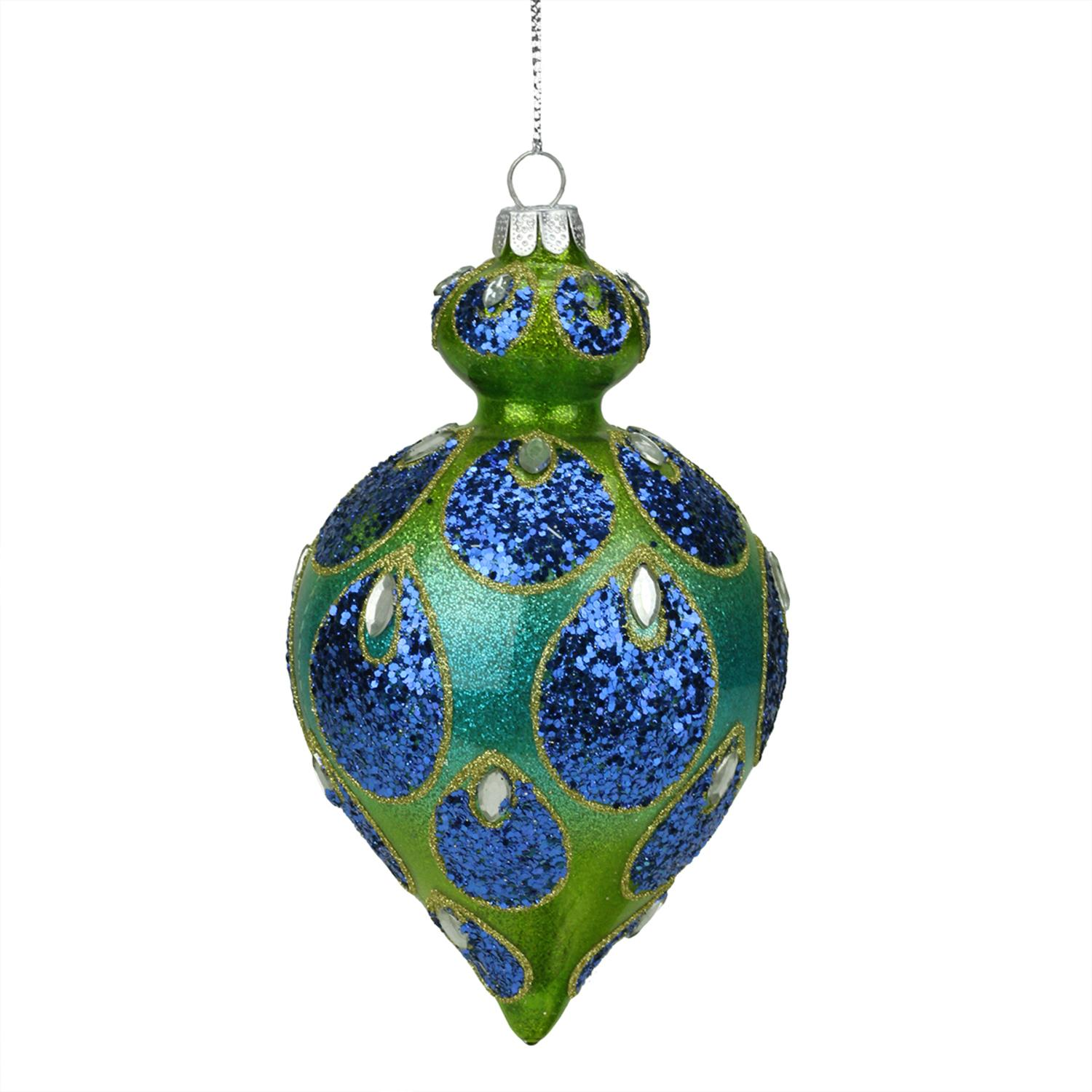 "5.25"" Regal Peacock Blue and Green Glittered Glass Teardrop Finial Christmas Ornament"