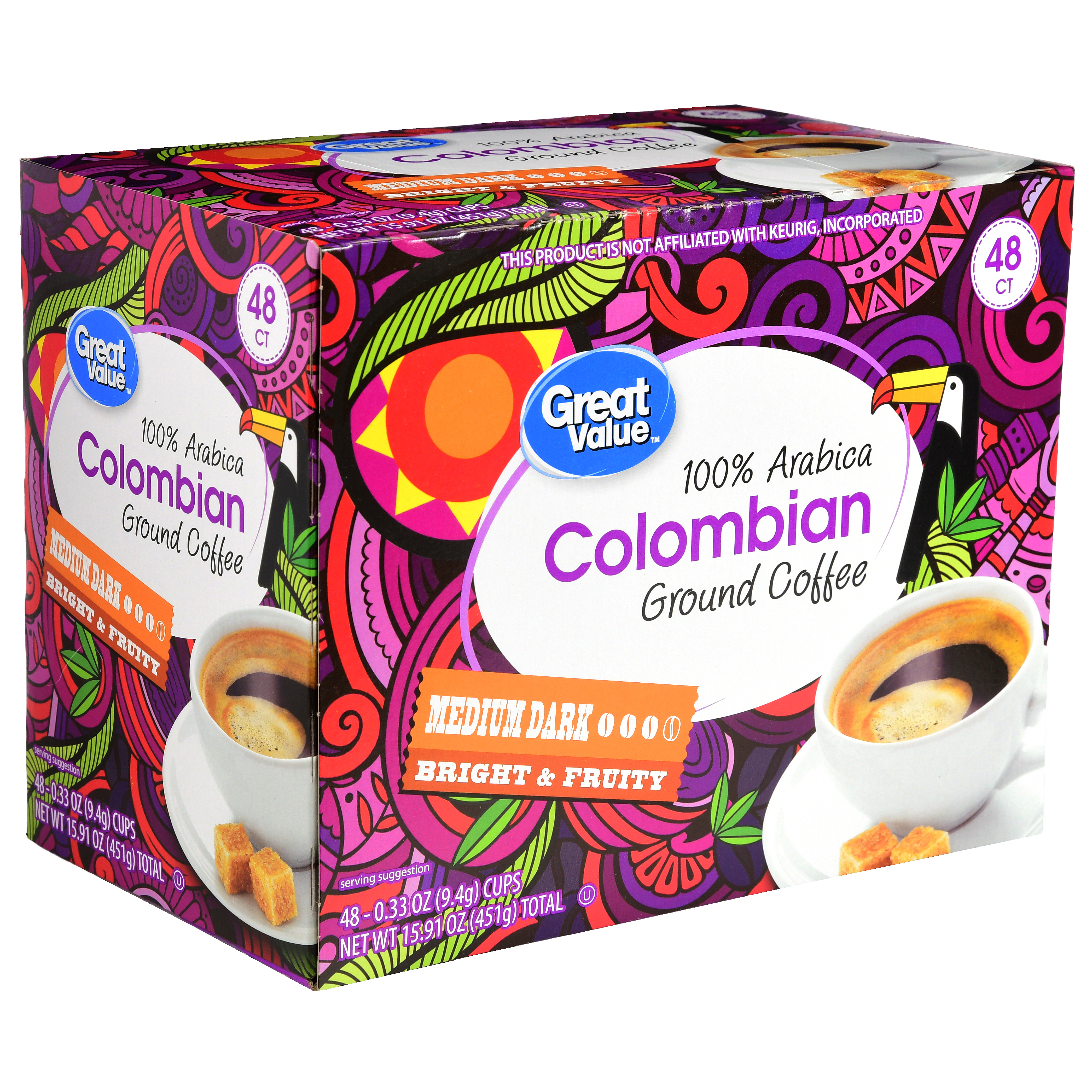 Great Value Colombian Ground Coffee Single Serve Cups, Medium Dark Roast, 48 Count