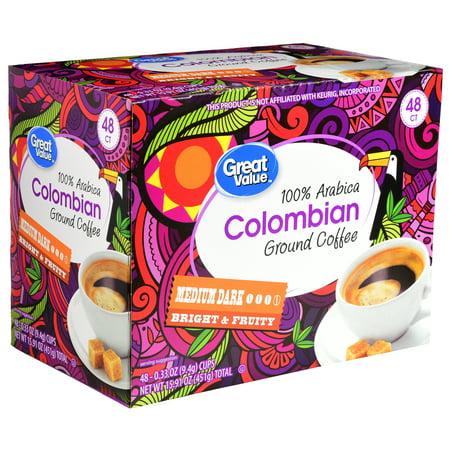Great Value Colombian Ground Coffee Single Serve Cups, Medium Dark Roast, 48 Count