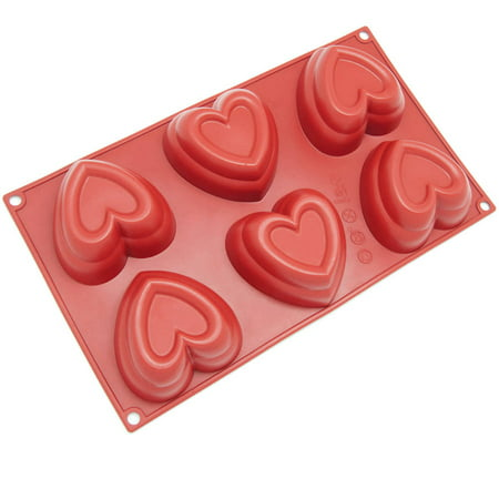 Freshware 6-Cavity Double Heart Silicone Mold for Muffin, Soap, Cupcake, Cheesecake, Pudding and Jello, SL-125RD